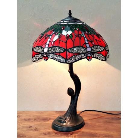 Tischleuchte im Tiffany Stil rot A01